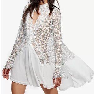 Free People Tell Tale Lace Minidress Tunic XS